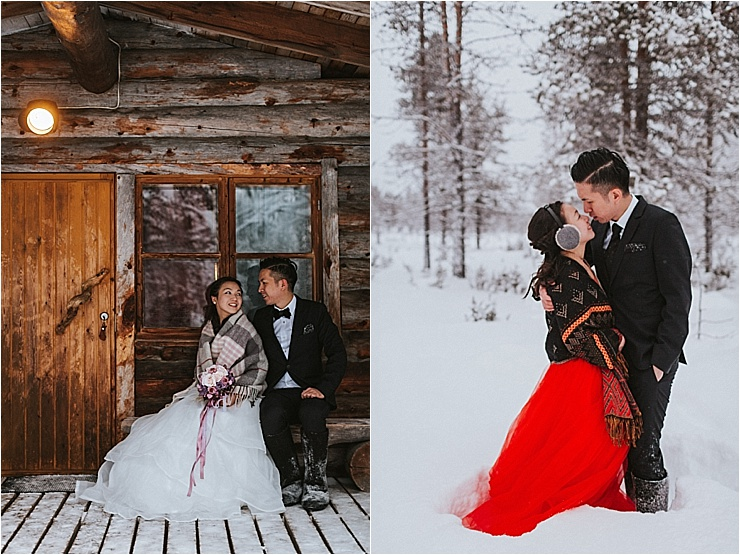 The bride and groom turn to each other and smile outside a log cabin in the woods in Finland by Maria Hedengren Photography