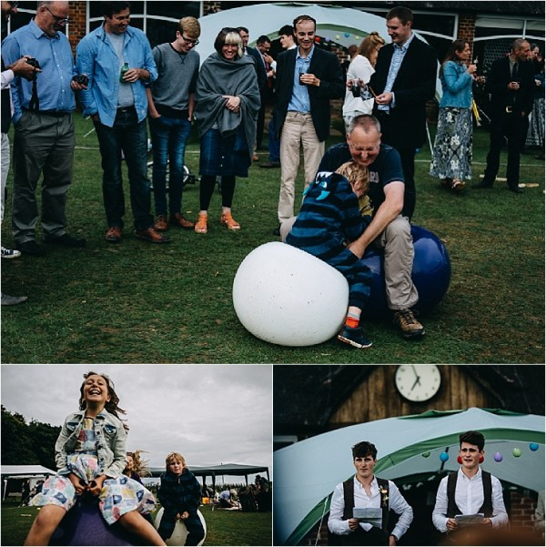 English cricket club wedding guests play on space hoppers by Hannah Hall Photography