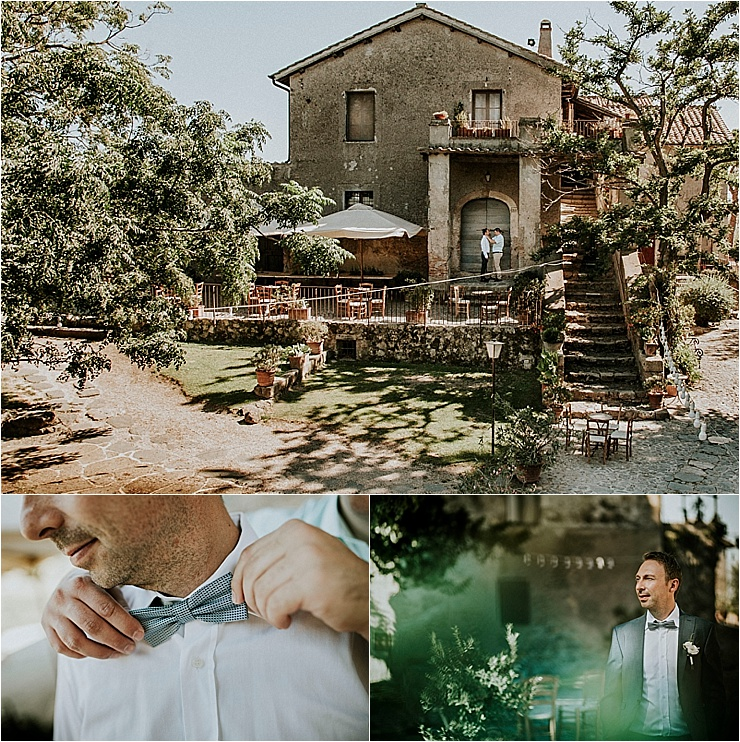 The groom getting ready outside Borgo di Tragliata by Michele Abriola
