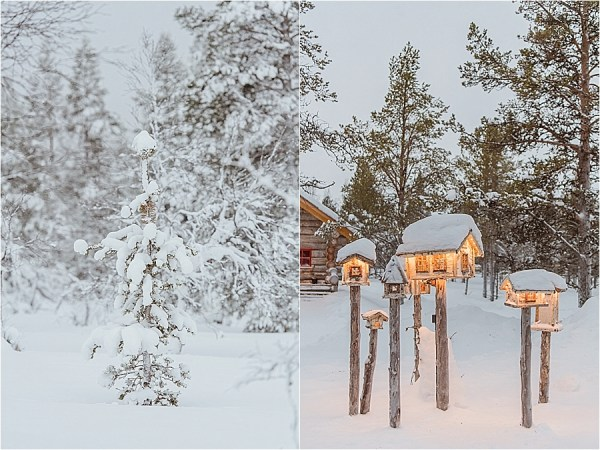 Small bird houses are illuminated in the Kakslauttanen arctic resort in Finland by Your Adventure Wedding