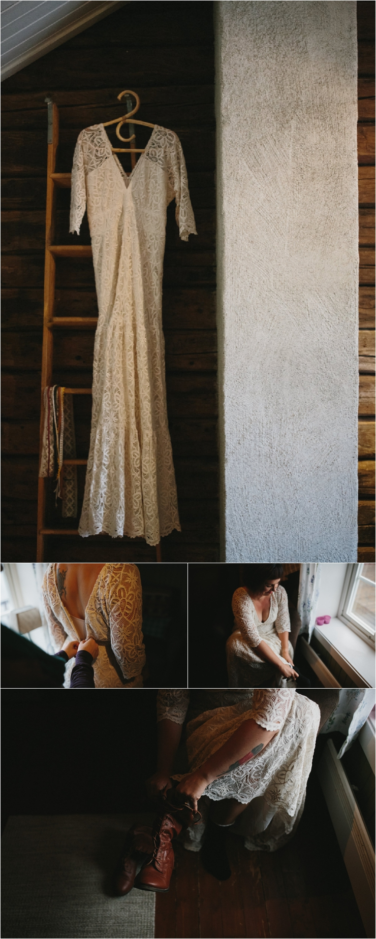 The wedding dress hangs in the cabin and Max gets dressed for her elopement in Lofoten Norway by Thomas Stewart