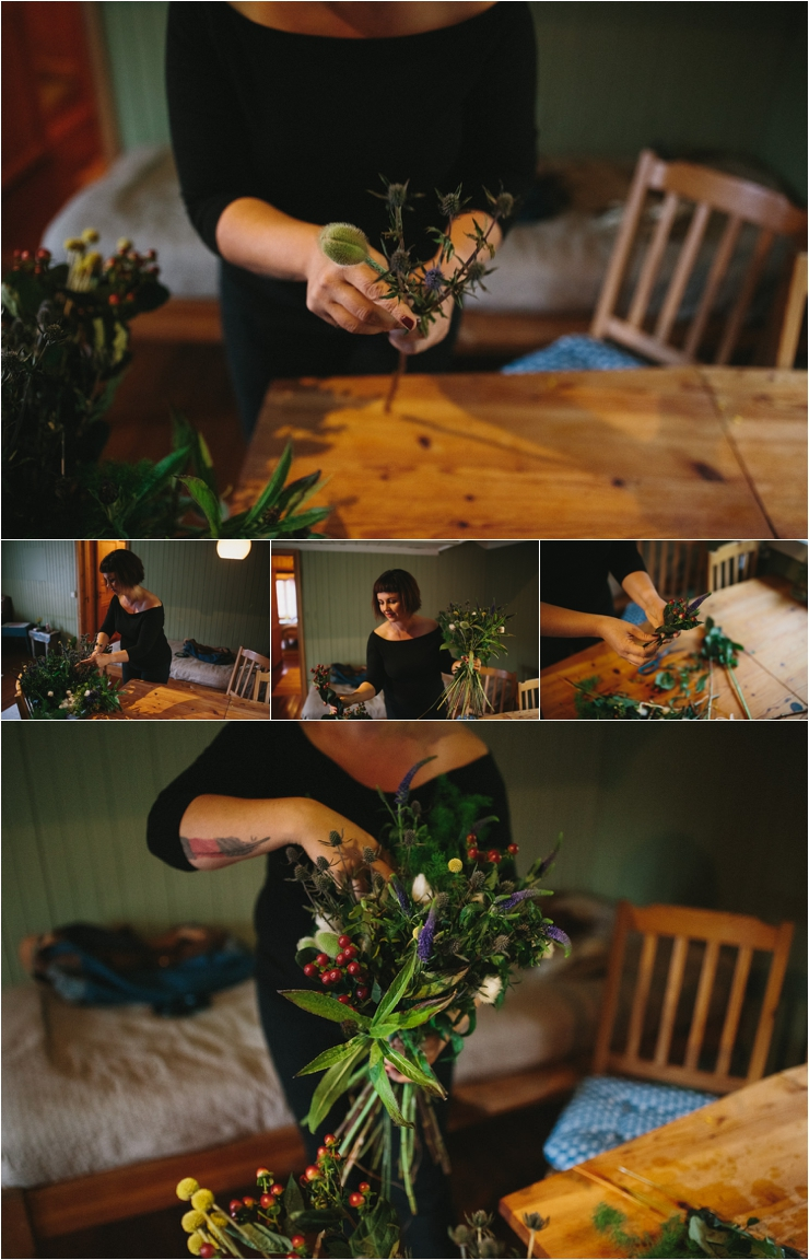 The bride makes her own bouquet from local flowers in Lofoten Norway by Thomas Stewart