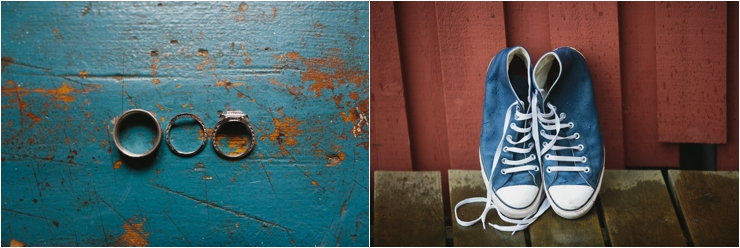 The wedding rings and groom's converse trainers in Lofoten Norway by Thomas Stewart