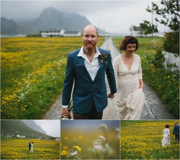 The bride and groom walk through yellow fields of wildflowers in Lofoten Norway by Thomas Stewart