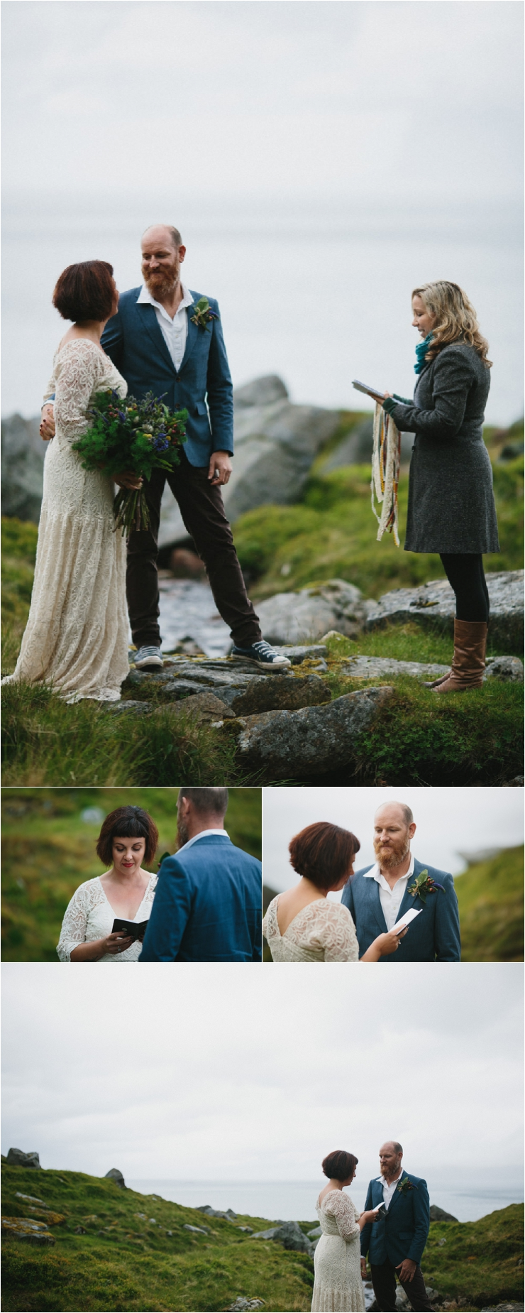 Maz and Dave exchange vows during their ceremony on a mountain in Lofoten Norway by Thomas Stewart