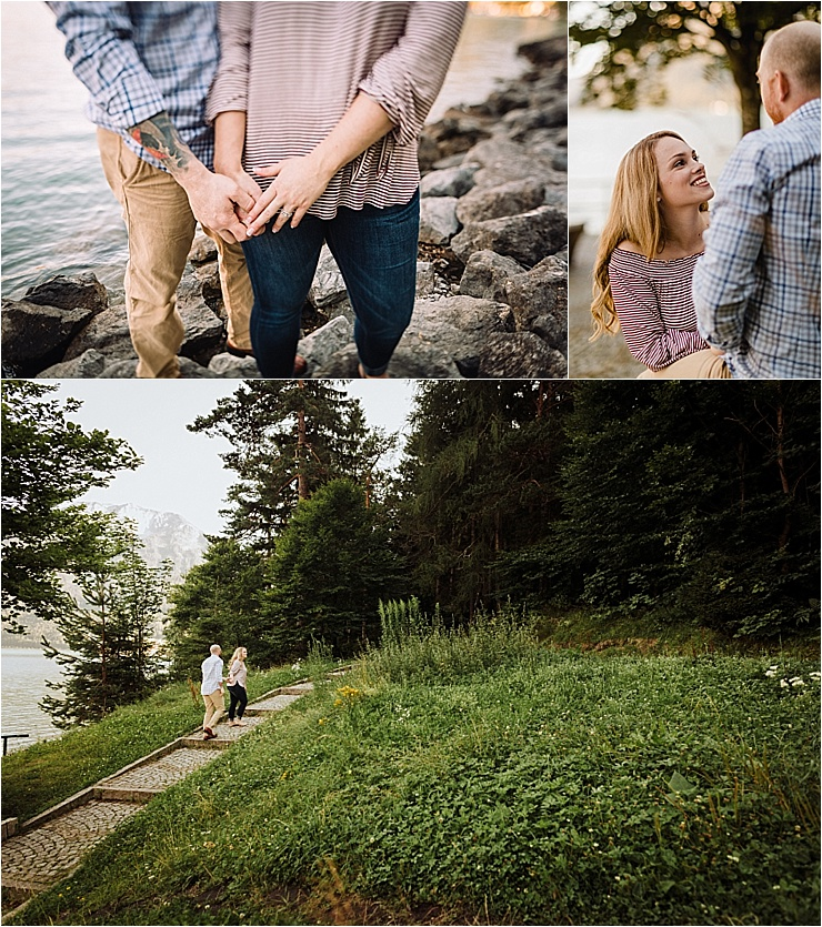 Engagement shoot in Austria couple walk along holding hands by Wild Connections Photography