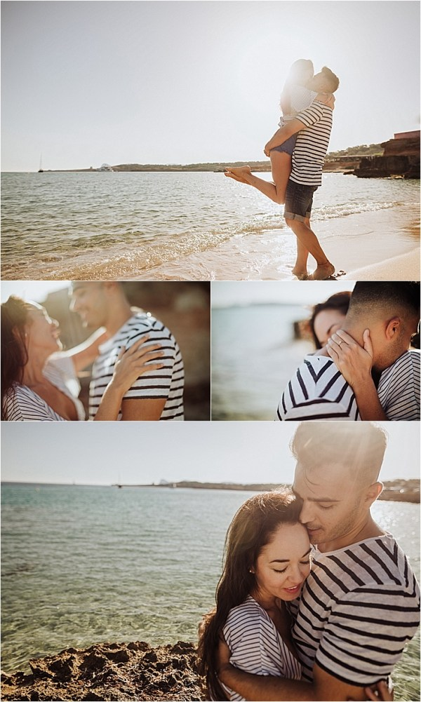 Engagement session in Ibiza couple walk along Cala Comte beach by Wild Connections Photography