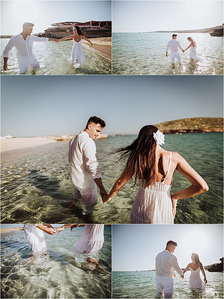 The couple walk in to the water during their beach engagement session in Ibiza by Wild Connections Photography