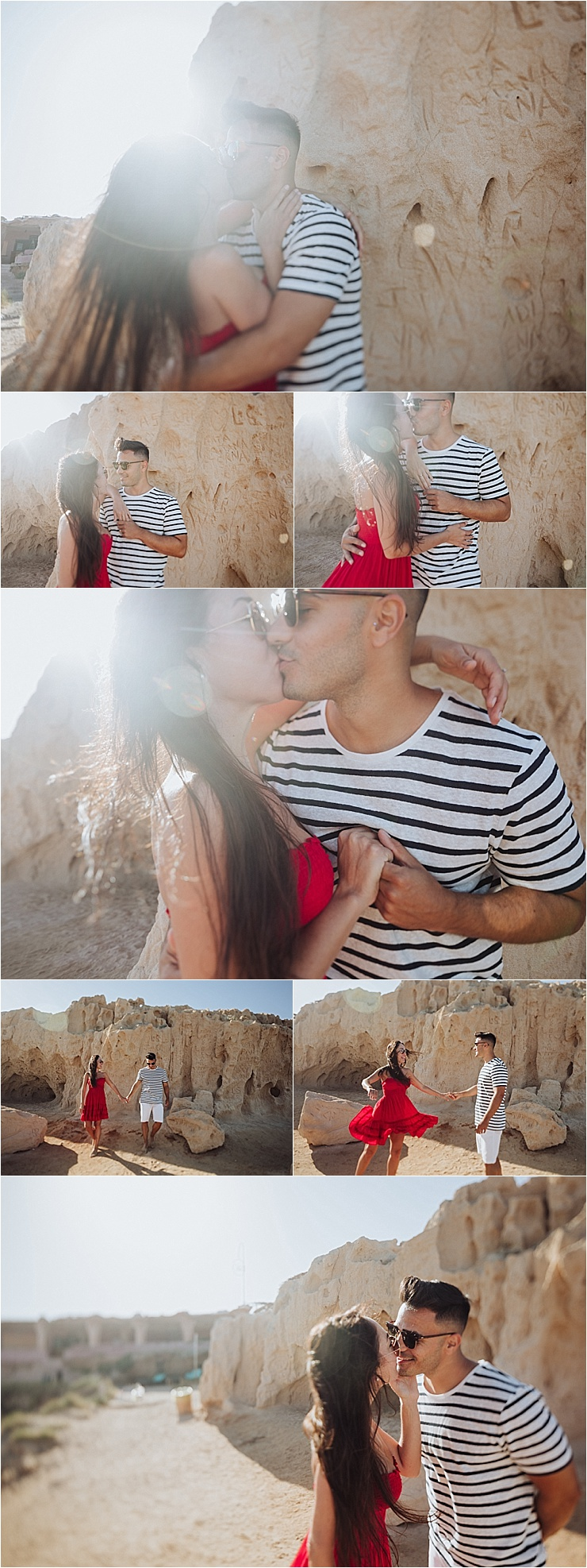 The newly engaged couple dance and kiss on the beach in Ibiza for their sunrise beach engagement session at Cala Comte beach by Wild Connections Photography