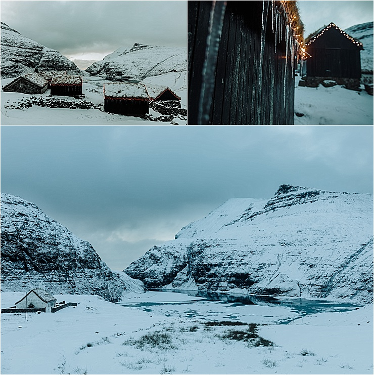 Snow in the village of Saksun in the Faroe Islands on We Are The Wanderers adventure wedding blog