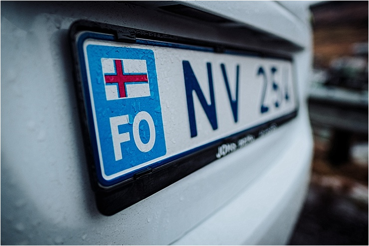 The numberplate of our Faroe Islands rental car