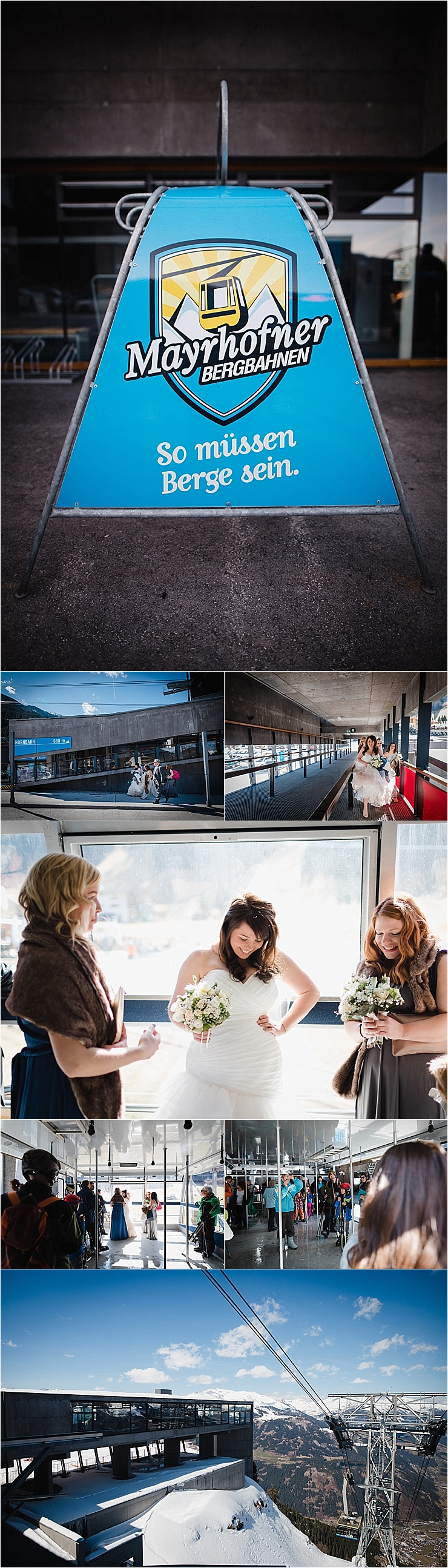 Bride takes the ski lift to her mountain wedding in Mayrhofen ski resort in Austria by Wild Connections Photography