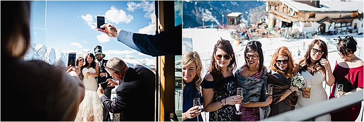 Guests enjoying the apres ski vibes for this ski wedding by Wild Connections Photography