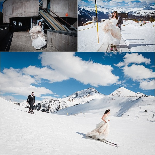 The bride and groom hit the slopes on their wedding day by Wild Connections Photography
