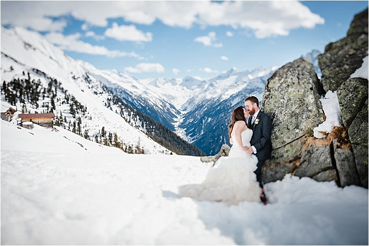 Making the most of the mountain scenery for bride and groom portraits by Wild Connections Photography