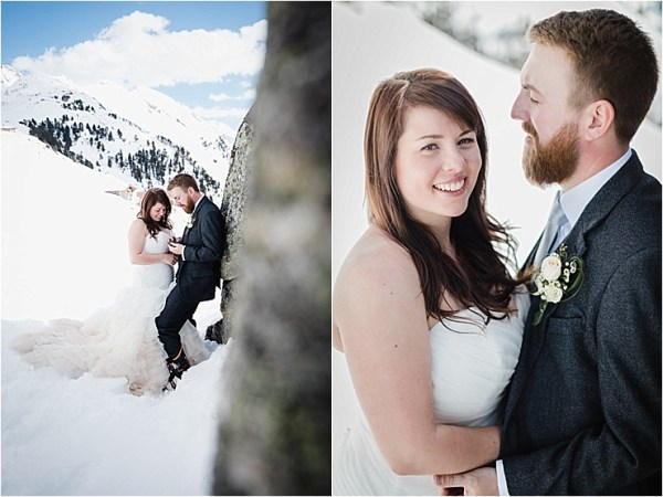 Wedding portraits in the snow by Wild Connections Photography