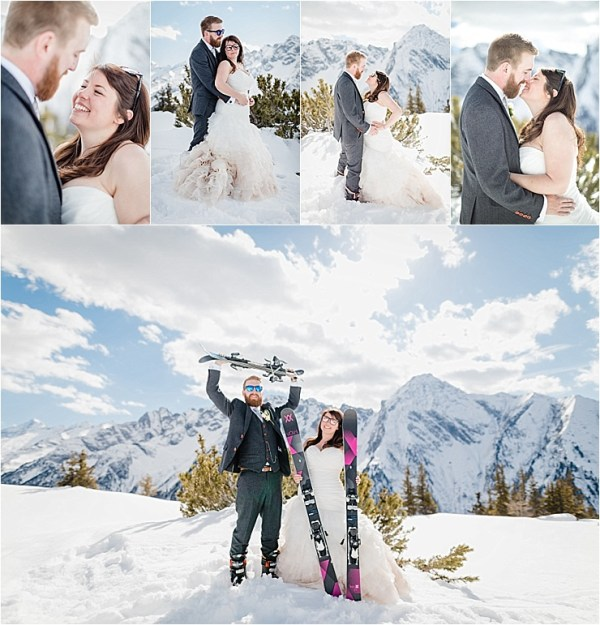 Posing with skis is the best way to pose when you're having a ski wedding by Wild Connections Photography