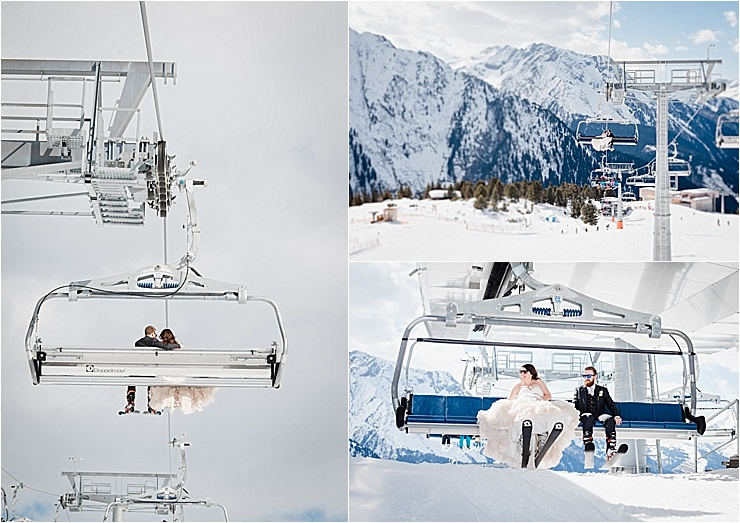 This couple rode the chairlift after going skiing in their wedding outfits on their wedding day by Wild Connections Photography
