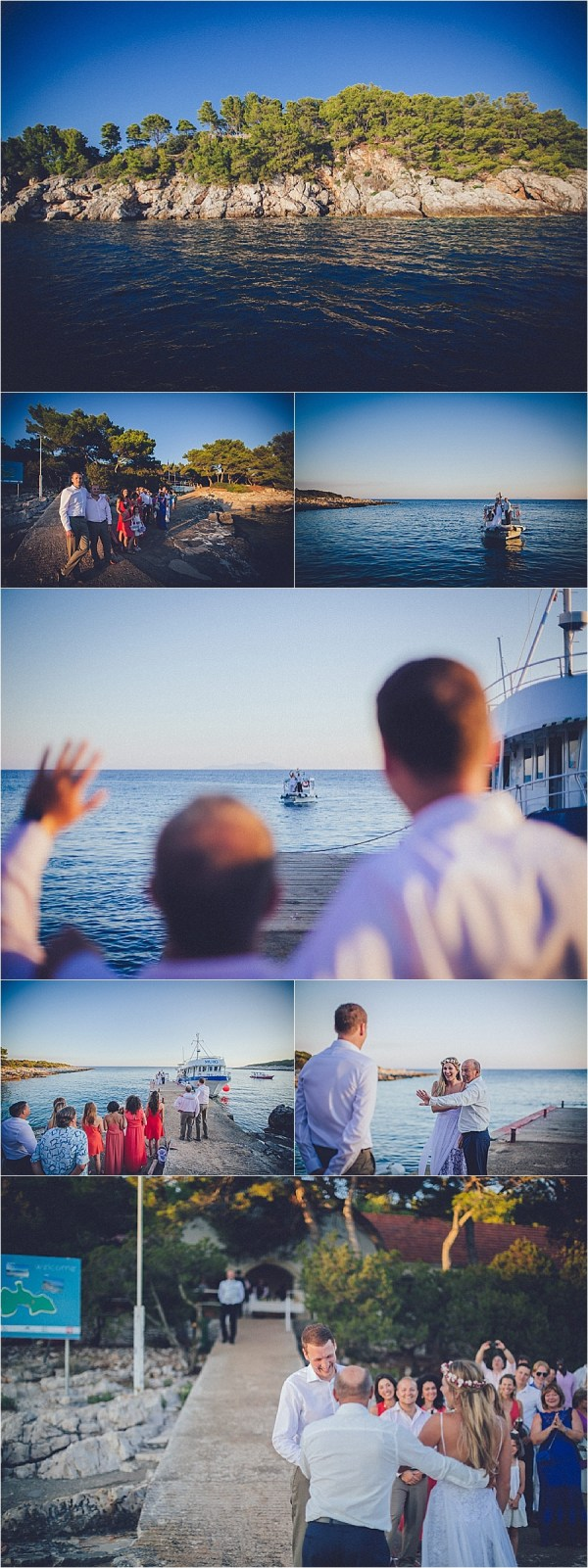 The bride arrives at her island wedding by boat in Croatia by Matija Kljunak Weddings