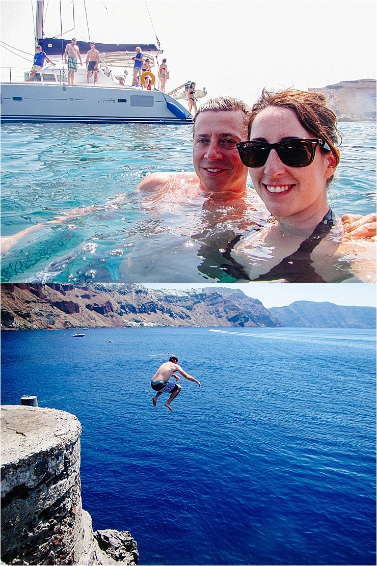 Lisa and her husband enjoying the water in Greece by Mister Pretty's Pictures