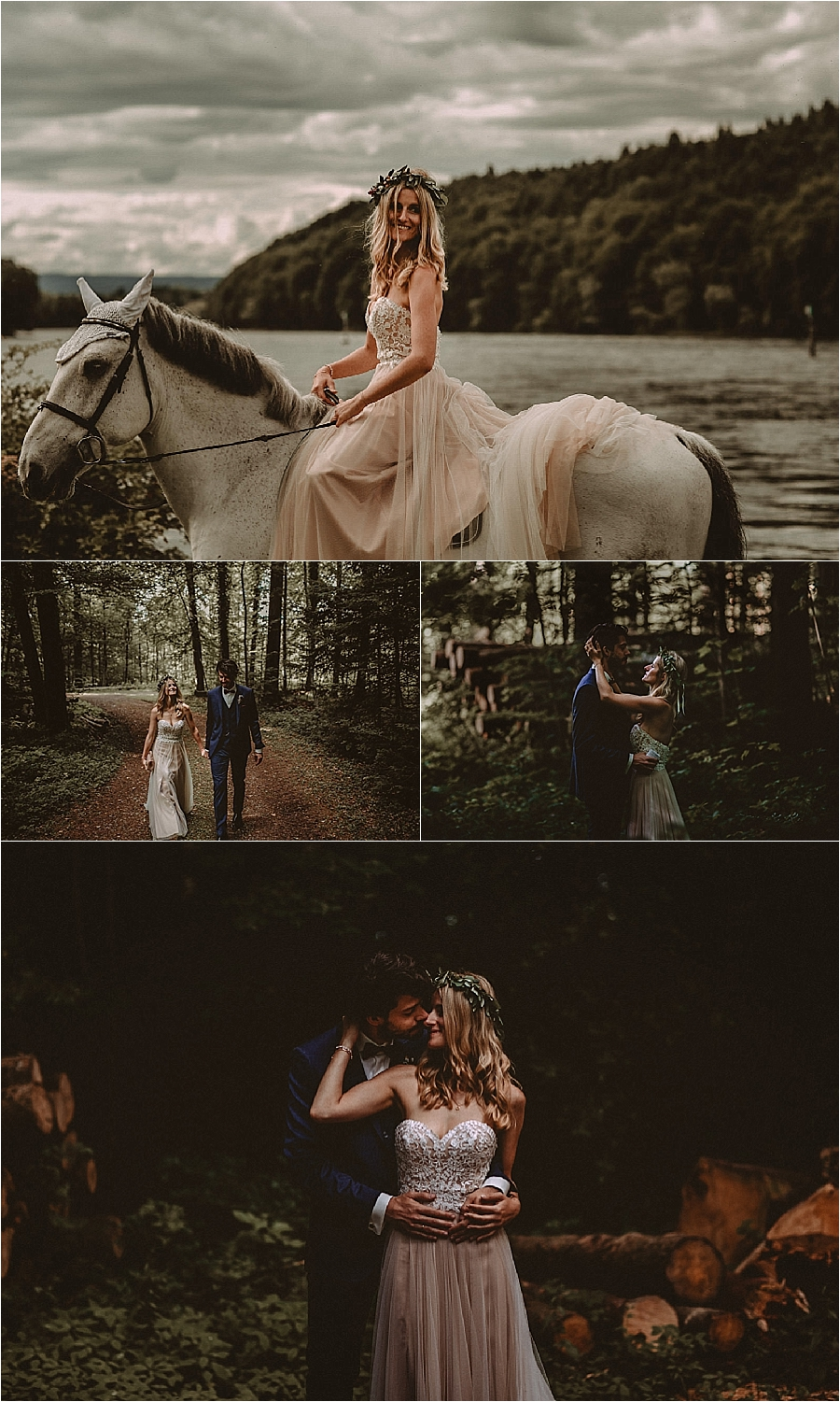 The bride and groom walk through the forest in Switzerland by Bring Me Somewhere Nice