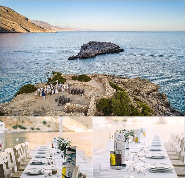 The waterfront wedding in Crete ceremony location in Loutro in Crete by Andreas Markakis Photography