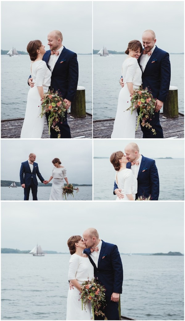 Bride and groom portraits by the ocean at their waterfront wedding in Denmark by Lauren McCormick Photography