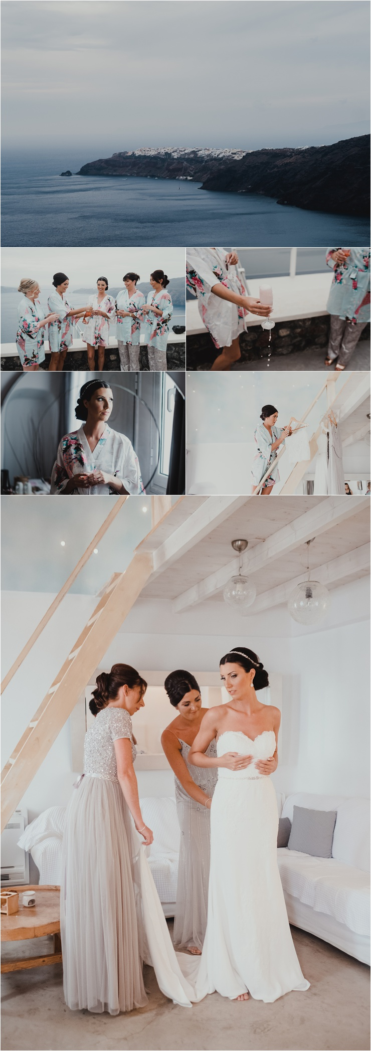 Bridal preparations in Santorini by Tara Lilly Photography