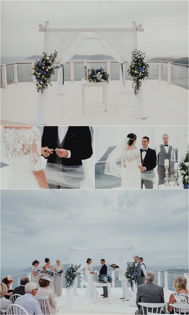 A Santorini destination wedding ceremony by Tara Lilly Photography
