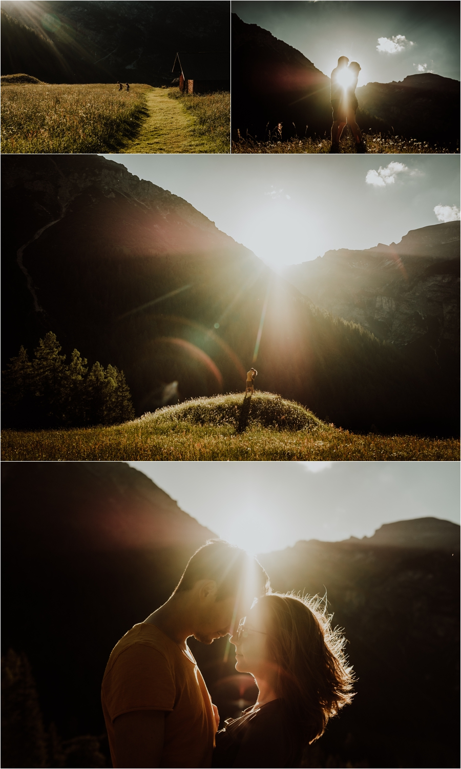Couple embrace with the setting sun and mountains behind them for their Austrian Alps adventure session by Wild Connections Photography