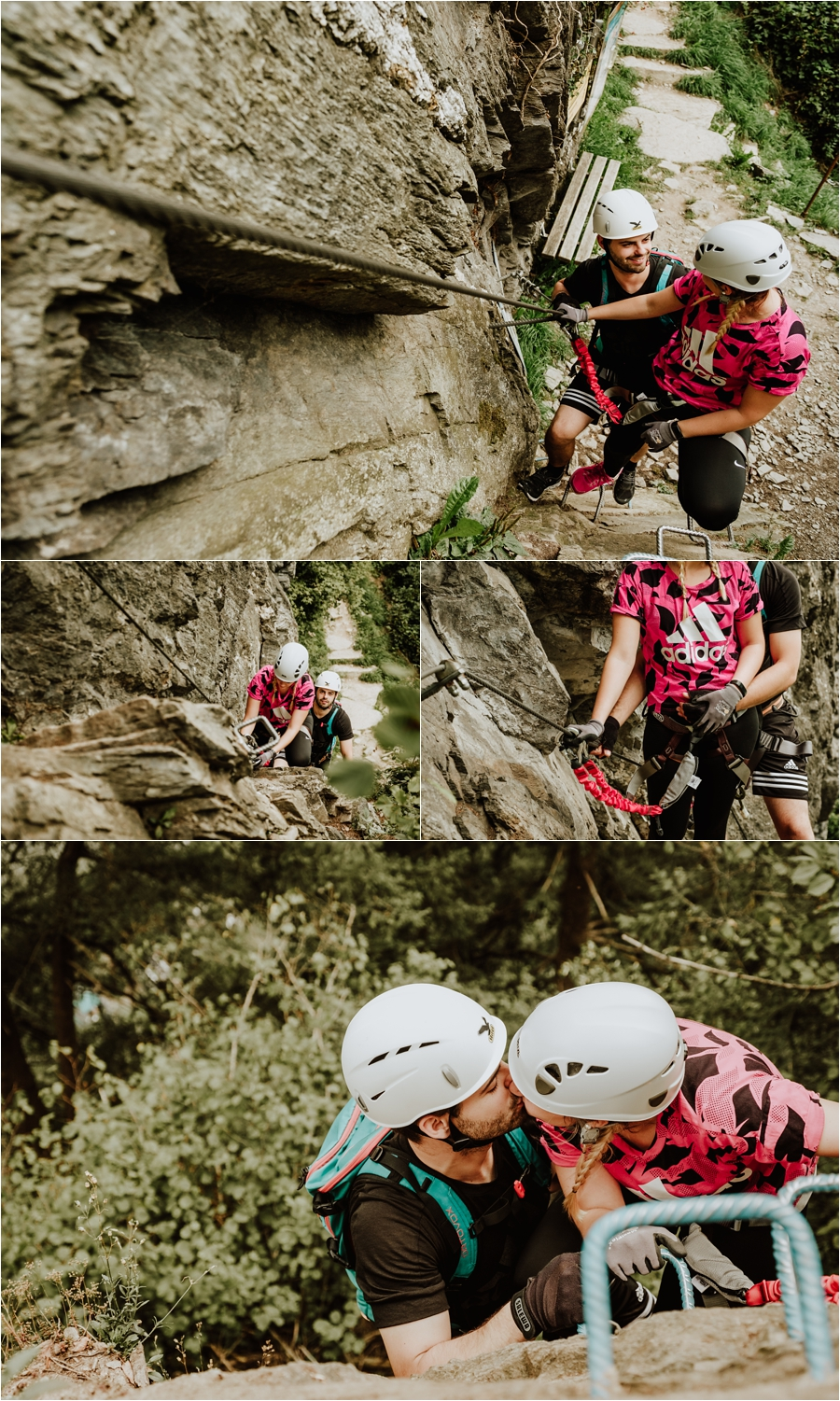 A young couple hugs on a climbing via ferrata wall by Wild Connections Photography
