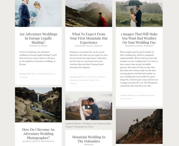 A screen grab showing regular blog posts on We Are The Wanderers