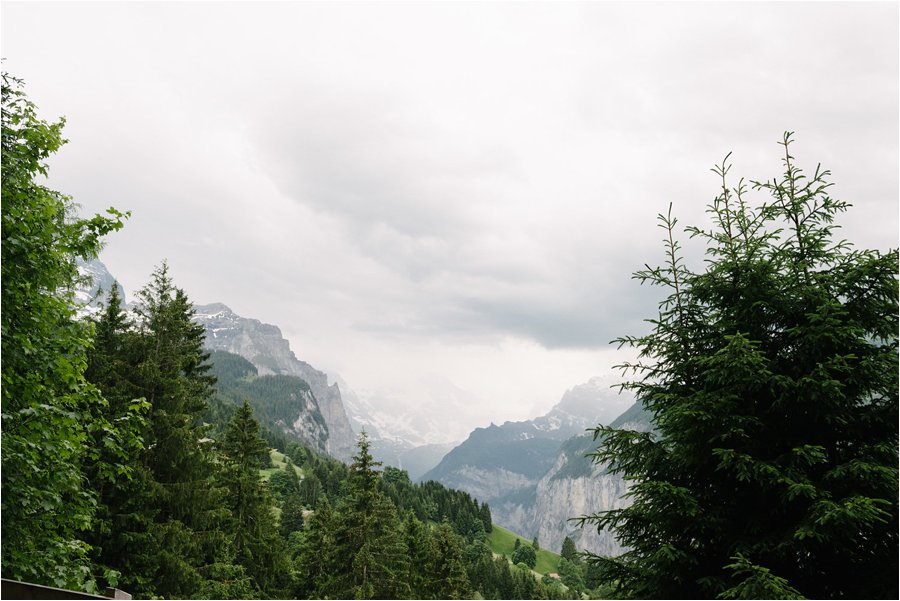 A view back down the valley to Lauterbrunnen - After wedding honeymoon shoot in Wengen by Caroline Hancox Photography