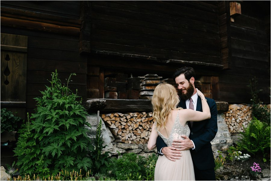 A wooden Swiss ski chalet wedding venue - After wedding honeymoon shoot in Wengen by Caroline Hancox Photography