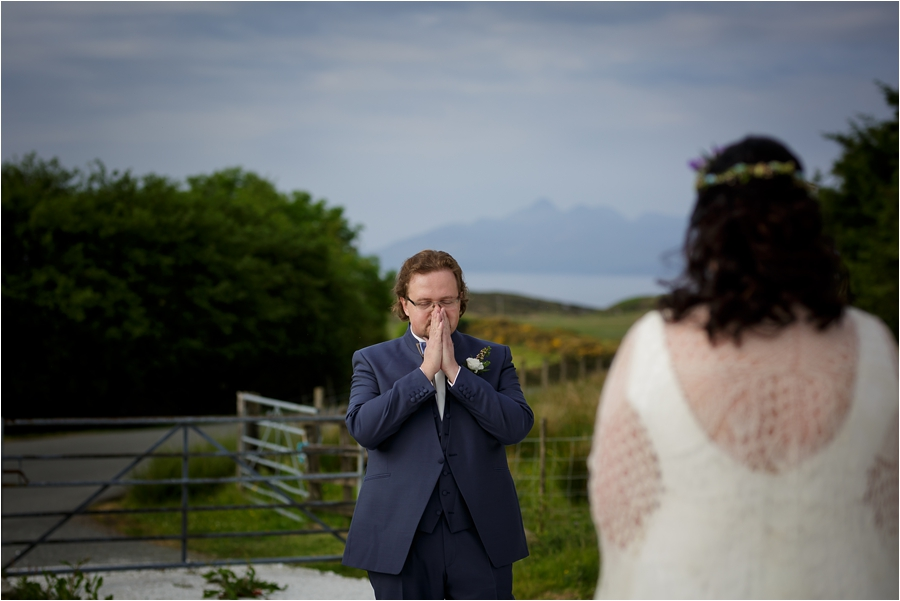 An emotional first look before a Loch Coruisk Elopement On The Isle Of Skye by Lynne Kennedy Photography