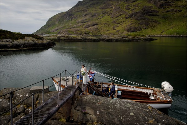 The boat docks for Tina & Jürgen's Loch Coruisk Elopement On The Isle Of Skye by Lynne Kennedy Photography