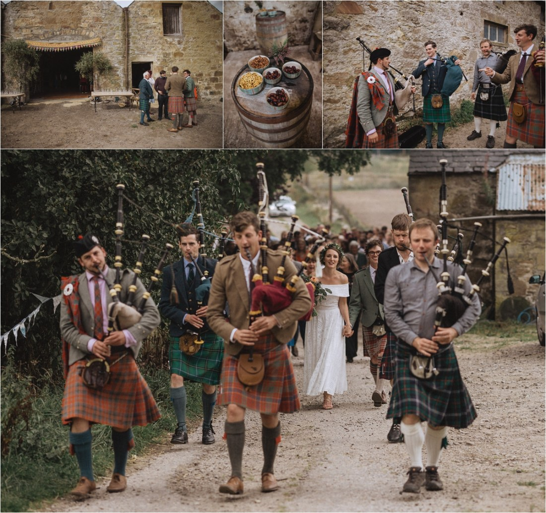 Bagpipers lead the bride and groom to the ceremony by Fox & Bear Photography