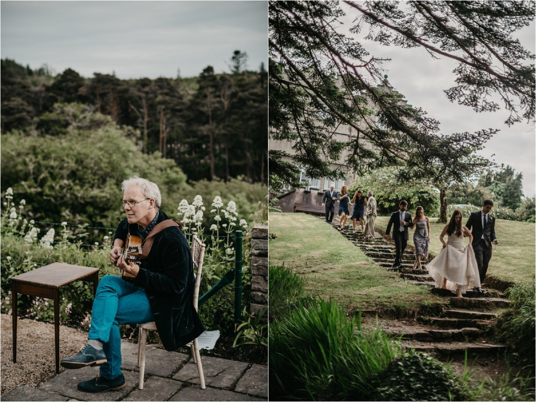 Guests walk across the grounds of Ballynahinch Castle by No Other Love Photography