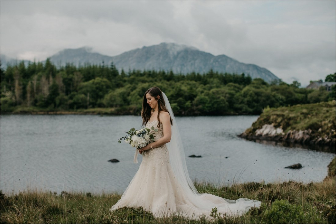 A bridal portrait after an intimate destination wedding in County Galway in Ireland by No Other Love Photography