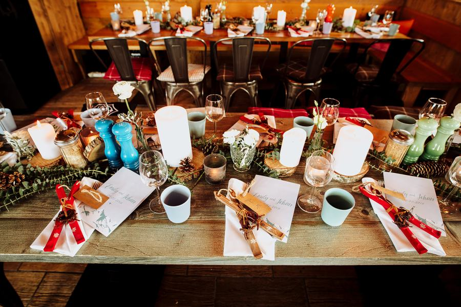 Ski wedding reception decor by Wild Connections Photography