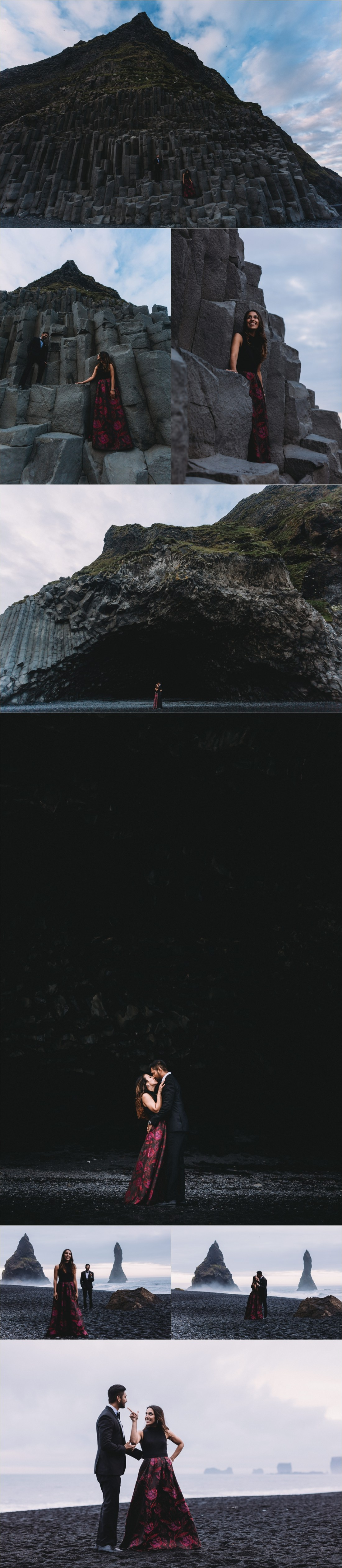 The caves at the back beach for this proposal shoot in Iceland by Zakas Photography