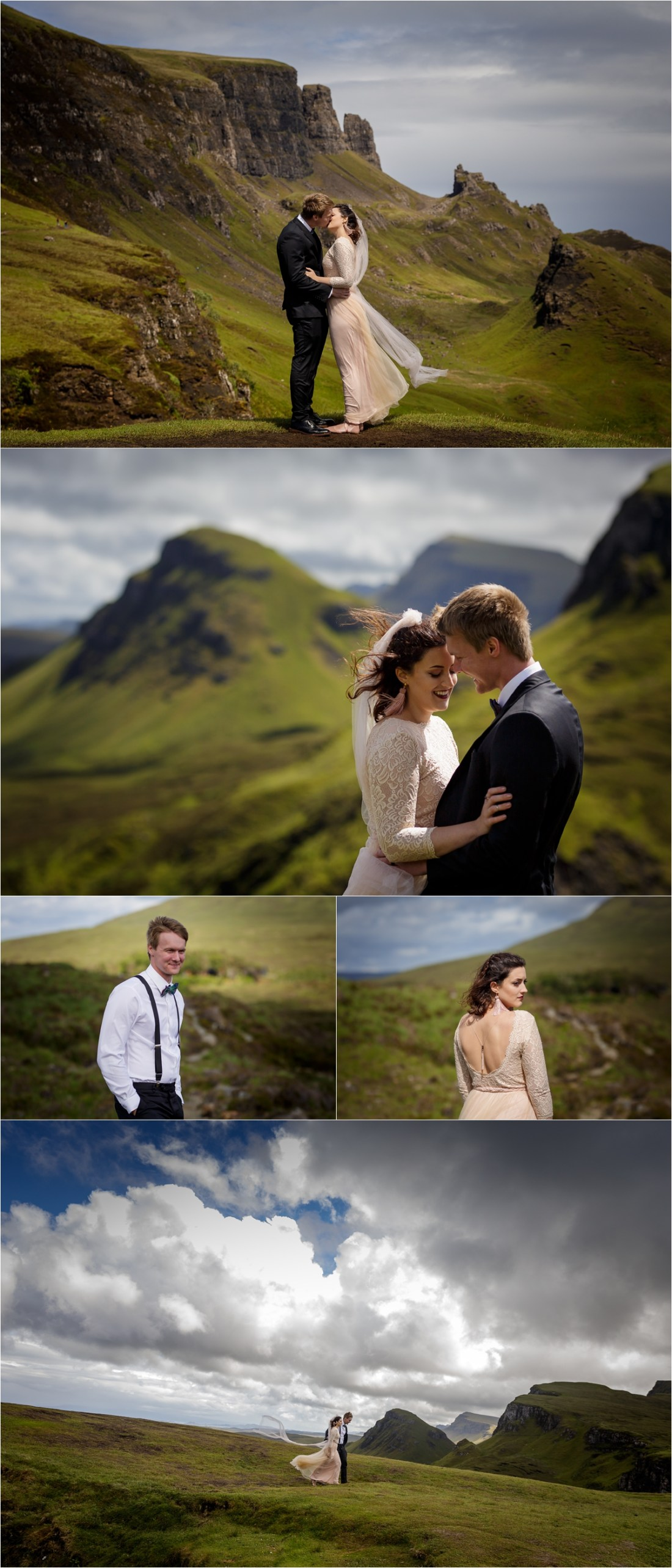 Bride and groom portraits on the Isle of Skye in Scotland with the bride in a pink dress by Lynne Kennedy Photography