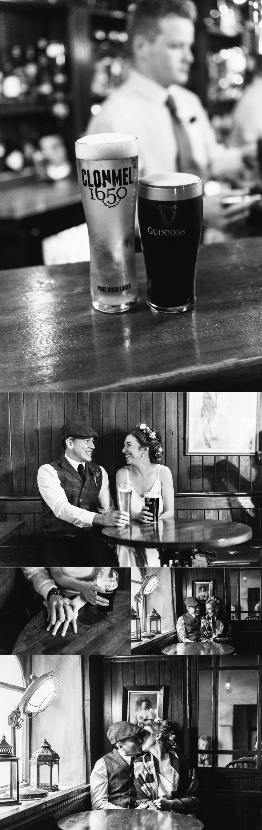 Bride & Groom go to the pub for a pint of Guiness by Collette Creative