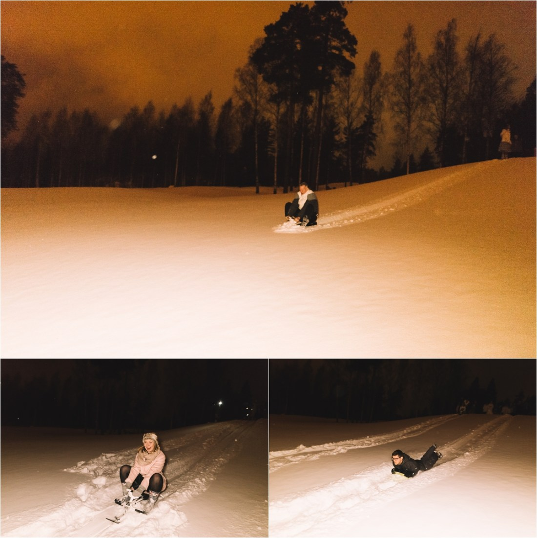 Late night wedding sledding in the snow by Lucie Watson Photography