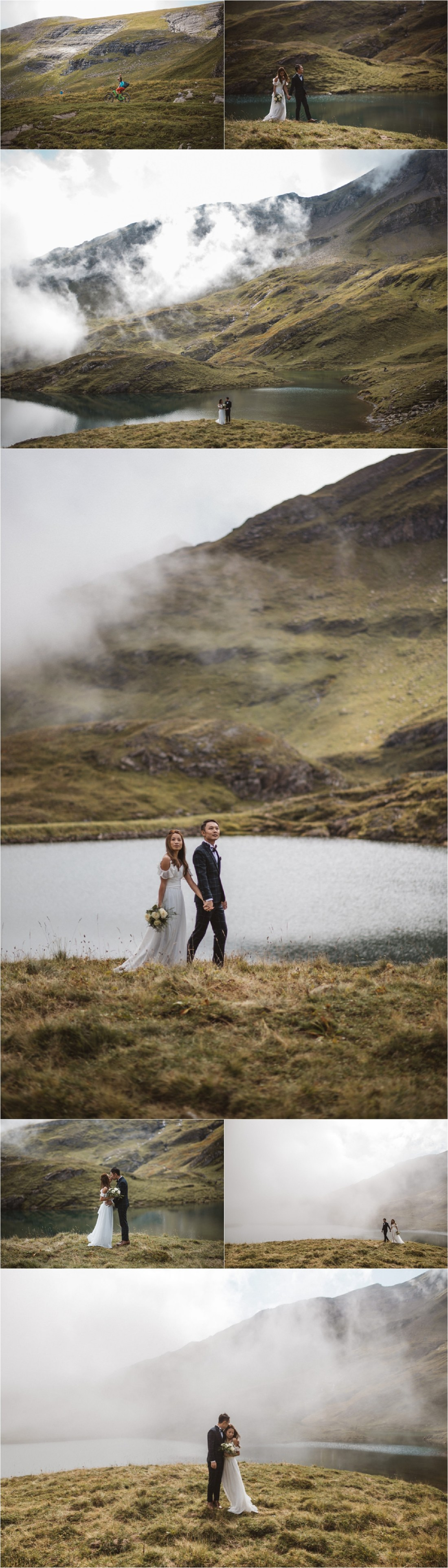 Bride and groom walk along a lake in the Swiss Alps by KatjaSimon Photography