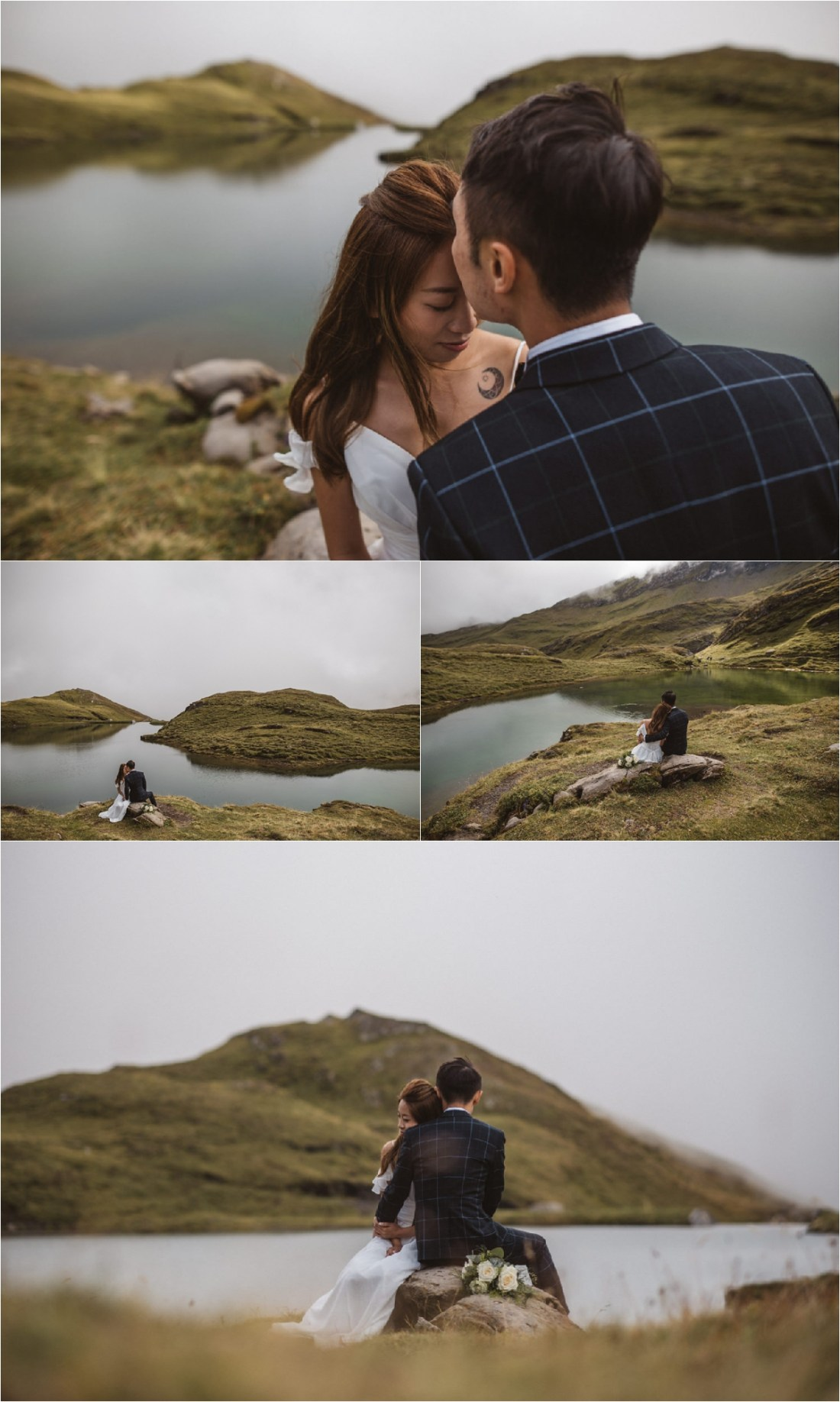 Couple sits on a rock by a mountain lake in the Swiss Alps by KatjaSimon Photography