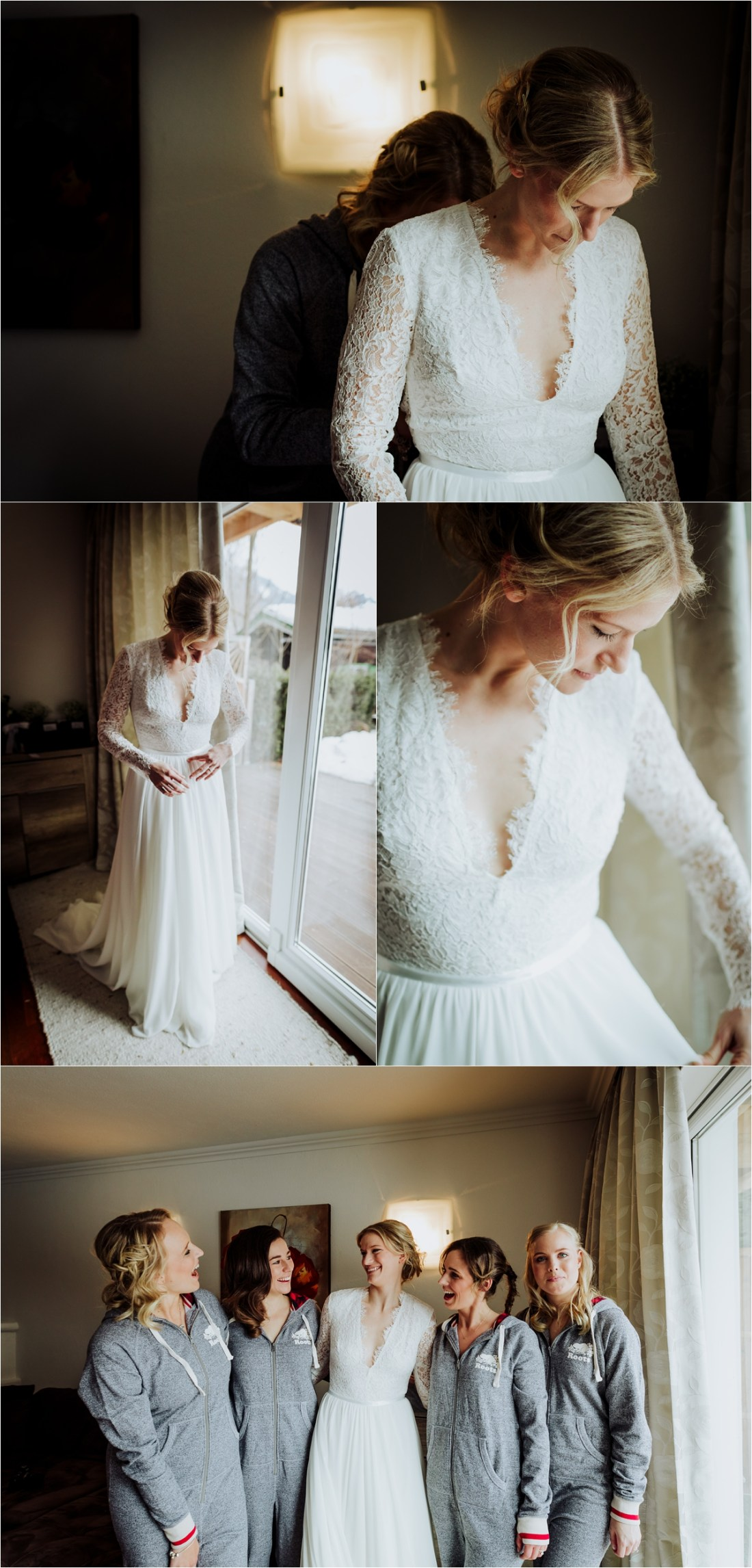 Winter bride Emily gets ready for her mountain wedding by Wild Connections Photography
