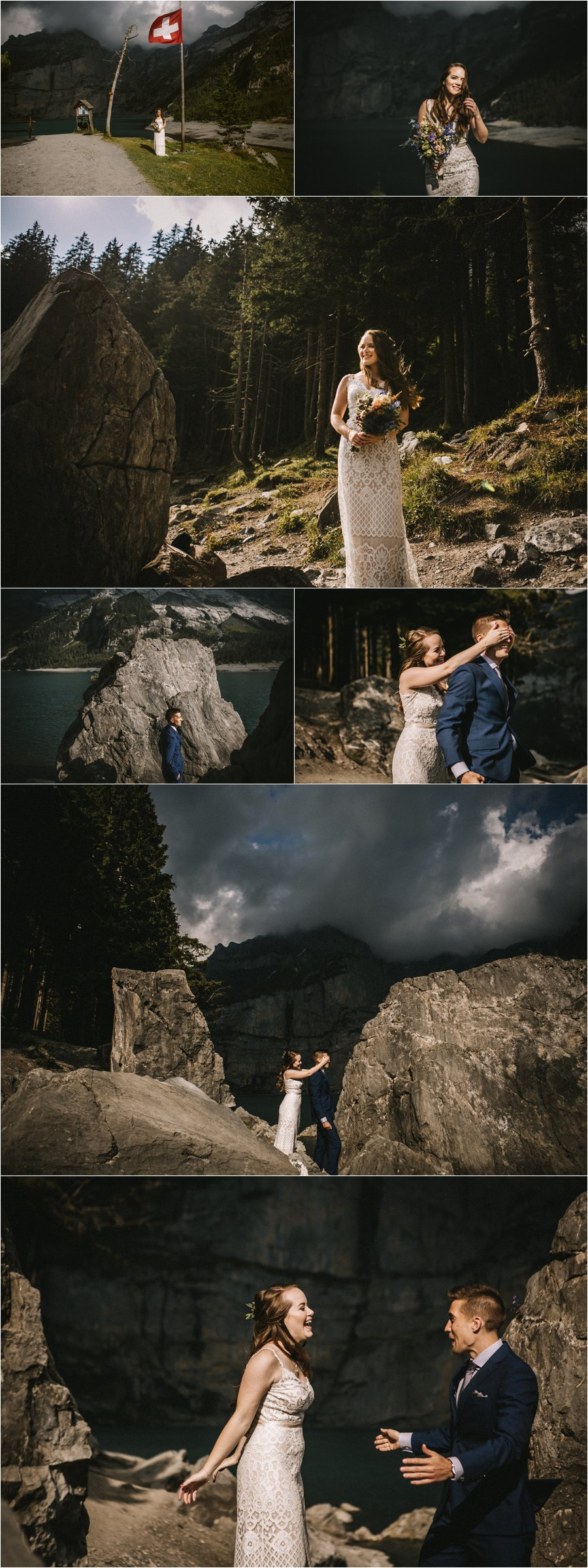 A first look by a lake in the Swiss Alps by Bendik Photography