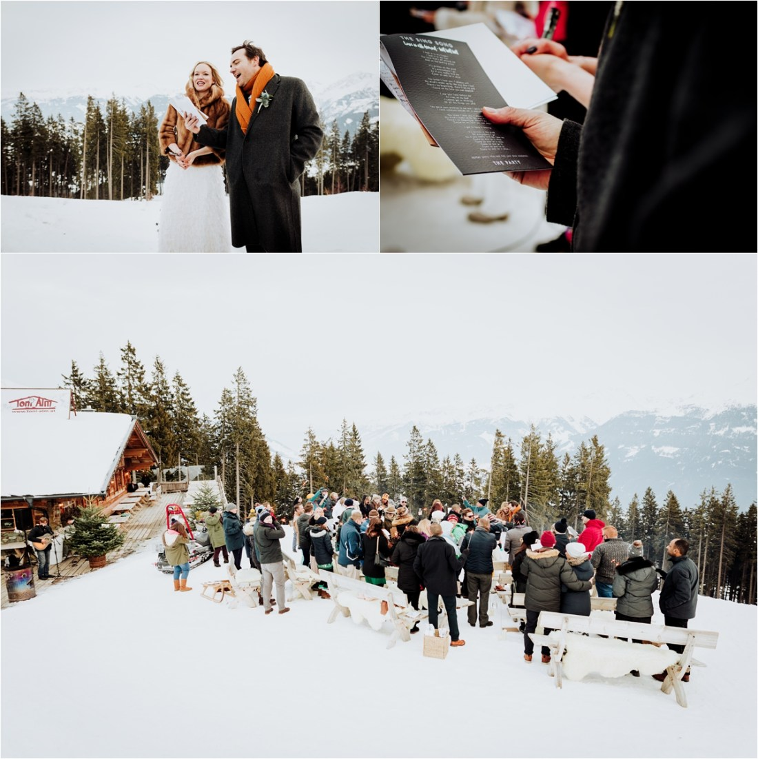 An outdoor wedding ceremony in winter in a ski resort in the Austrian Alps by Wild Connections Photography