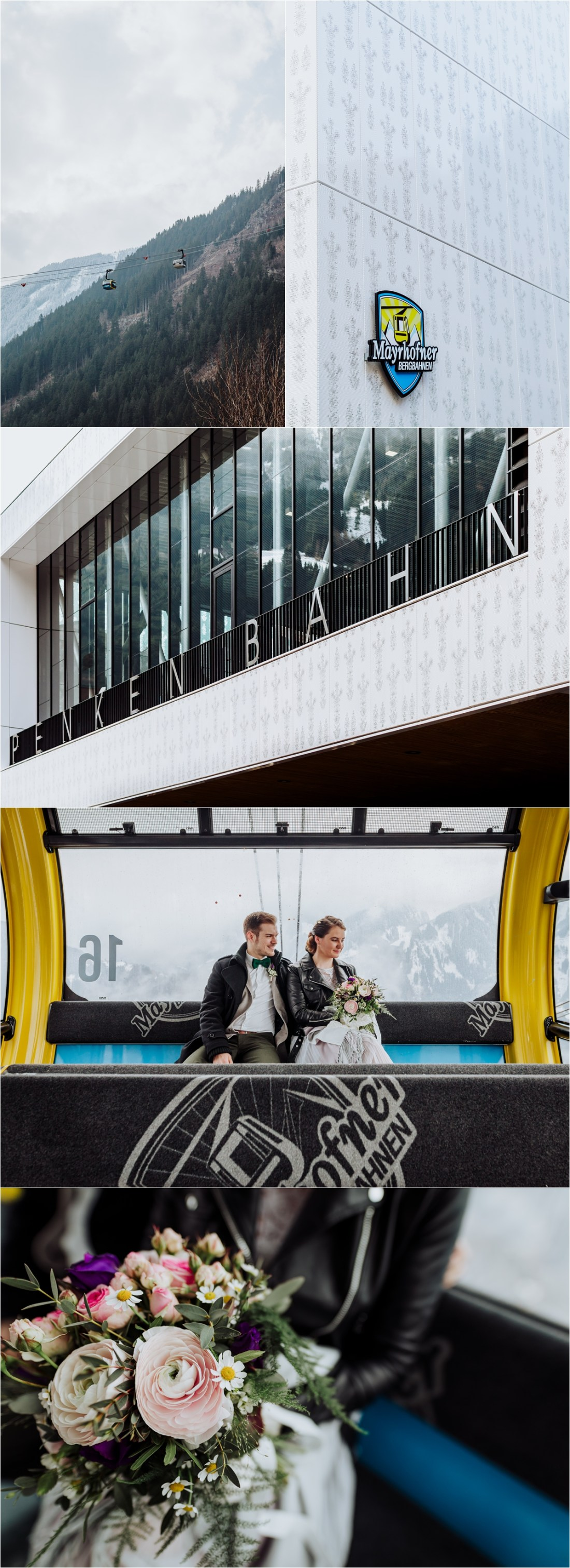Bride and groom in the Penken cable car in Mayrhofen Austria before their winter elopement by Wild Connections Photography